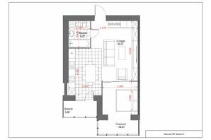ЖК Oasis: планировка 1-комнатной квартиры 58 м²