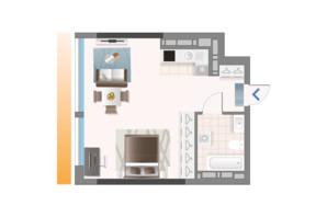ЖК Oasis: планировка 1-комнатной квартиры 42.03 м²