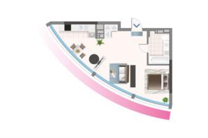 ЖК Oasis: планировка 1-комнатной квартиры 44.3 м²