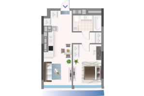 ЖК Oasis: планировка 1-комнатной квартиры 47.41 м²