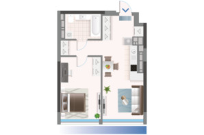 ЖК Oasis: планировка 1-комнатной квартиры 50.15 м²