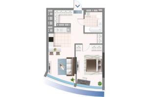 ЖК Oasis: планировка 1-комнатной квартиры 50.7 м²