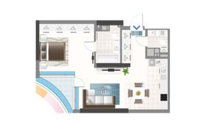 ЖК Oasis: планировка 1-комнатной квартиры 55.87 м²