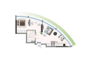 ЖК Oasis: планировка 1-комнатной квартиры 56.13 м²
