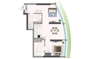 ЖК Oasis: планировка 2-комнатной квартиры 65.93 м²