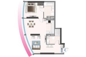 ЖК Oasis: планировка 2-комнатной квартиры 66.33 м²