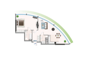 ЖК Oasis: планировка 2-комнатной квартиры 83.57 м²