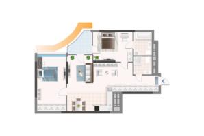 ЖК Oasis: планировка 2-комнатной квартиры 91.05 м²