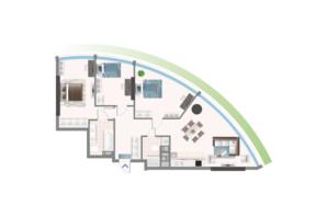 ЖК Oasis: планировка 3-комнатной квартиры 102.17 м²