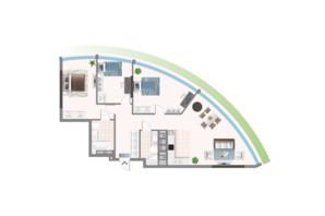 ЖК Oasis: планировка 3-комнатной квартиры 110.1 м²