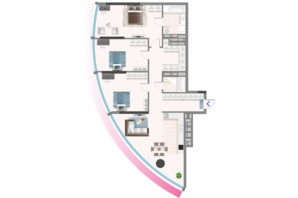 ЖК Oasis: планировка 3-комнатной квартиры 125.75 м²