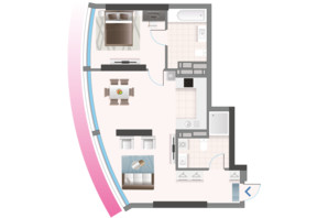 ЖК Oasis: планування 2-кімнатної квартири 66.33 м²