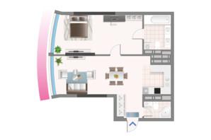 ЖК Oasis: планування 2-кімнатної квартири 70.01 м²