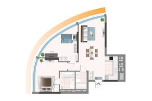 ЖК Oasis: планування 2-кімнатної квартири 80.4 м²