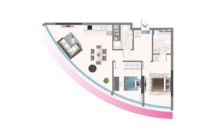 ЖК Oasis: планування 2-кімнатної квартири 84.57 м²