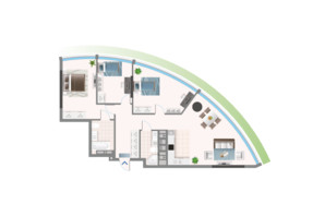 ЖК Oasis: планування 3-кімнатної квартири 110.1 м²