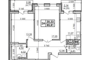 ЖК Оазис Буковины: планировка 2-комнатной квартиры 65.61 м²
