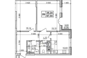 ЖК Оазис Буковины: планировка 2-комнатной квартиры 67.04 м²