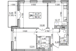 ЖК Оазис Буковины: планировка 2-комнатной квартиры 59.14 м²