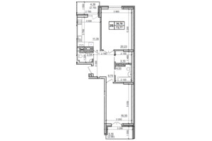 ЖК Оазис Буковины: планировка 2-комнатной квартиры 72.77 м²