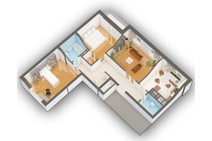 ЖК Оазис Буковины: планировка 3-комнатной квартиры 84.59 м²