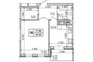 ЖК Оазис Буковины: планировка 1-комнатной квартиры 43.02 м²