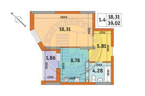 ЖК Оберіг-2: планування 1-кімнатної квартири 39.02 м²