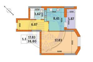ЖК Оберіг-2: планування 1-кімнатної квартири 38.8 м²