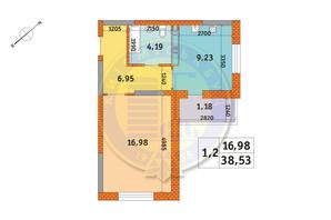ЖК Оберіг-2: планування 1-кімнатної квартири 38.53 м²