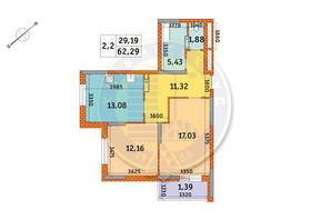 ЖК Оберіг-2: планування 2-кімнатної квартири 62.29 м²