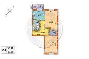 ЖК Обериг-2: планировка 2-комнатной квартиры 67.58 м²