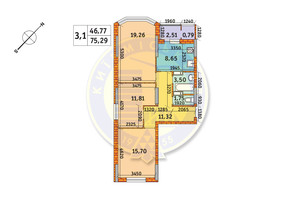 ЖК Обериг-2: планировка 3-комнатной квартиры 75.29 м²