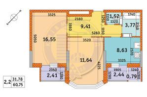 ЖК Обериг-2: планировка 2-комнатной квартиры 60.75 м²
