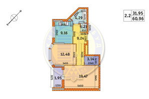 ЖК Обериг-2: планировка 2-комнатной квартиры 60.96 м²