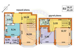 ЖК Обериг-2: планировка 3-комнатной квартиры 65.29 м²