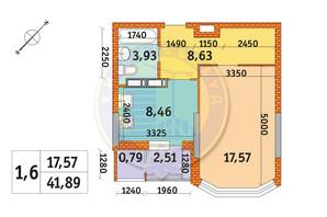ЖК Обериг-2: планировка 1-комнатной квартиры 41.89 м²