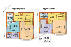 ЖК Обериг-2: планировка 2-комнатной квартиры 65.36 м²
