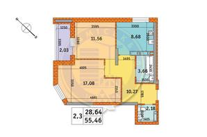 ЖК Обериг-2: планировка 2-комнатной квартиры 55.46 м²
