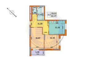 ЖК Обериг-2: планировка 2-комнатной квартиры 62.27 м²