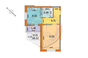 ЖК Обериг-2: планировка 1-комнатной квартиры 38.52 м²