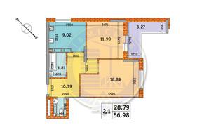 ЖК Обериг-2: планировка 2-комнатной квартиры 56.98 м²