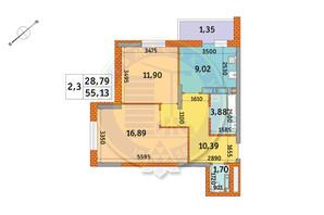 ЖК Обериг-2: планировка 2-комнатной квартиры 55.13 м²