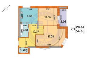 ЖК Обериг-2: планировка 2-комнатной квартиры 54.68 м²