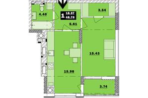 ЖК Обухівський ключ: планування 1-кімнатної квартири 48.7 м²