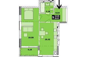 ЖК Обухівський ключ: планування 1-кімнатної квартири 52.57 м²
