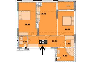 ЖК Обухівський ключ: планування 2-кімнатної квартири 73.67 м²