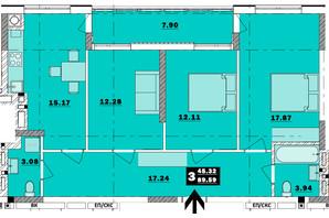 ЖК Обухівський ключ: планування 3-кімнатної квартири 89.59 м²