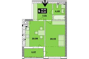 ЖК Обуховский ключ: планировка 1-комнатной квартиры 43.25 м²