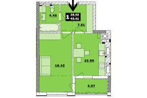 ЖК Обуховский ключ: планировка 1-комнатной квартиры 43.41 м²