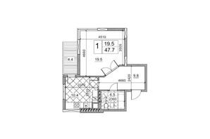 ЖК Обуховский ключ: планировка 1-комнатной квартиры 47.7 м²